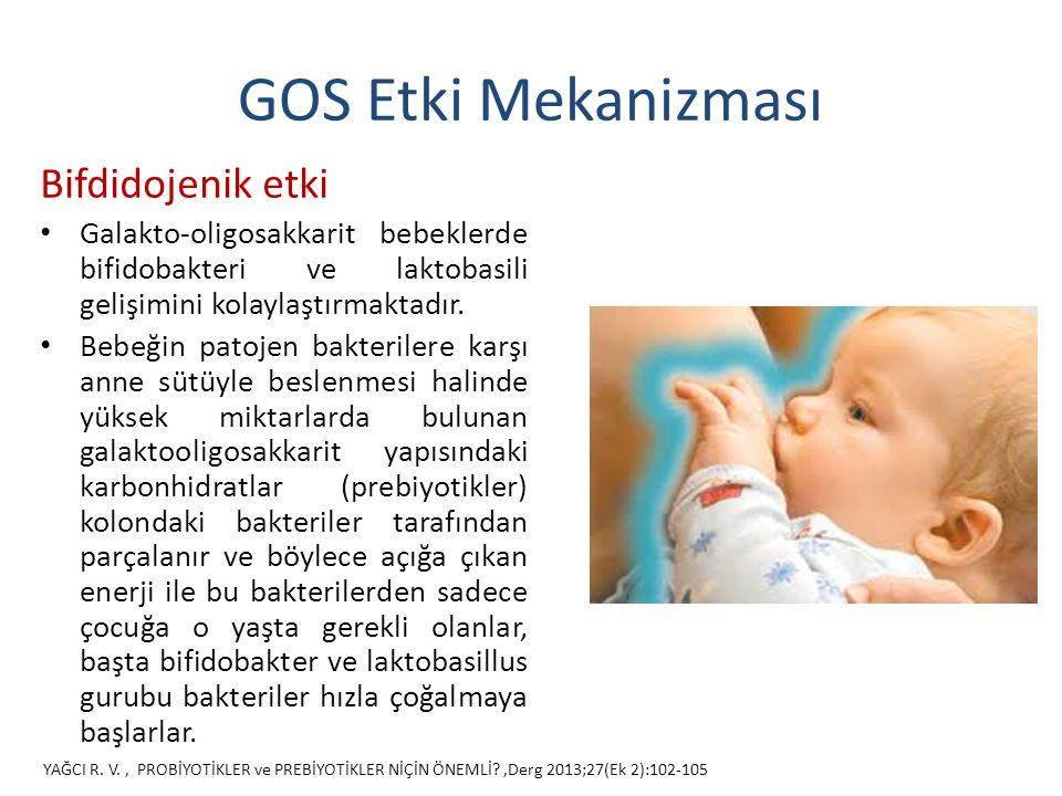 GOS Etki Mekanizması Bifdidojenik etki Galakto-oligosakkarit bebeklerde bifidobakteri ve laktobasili gelişimini kolaylaştırmaktadır.
