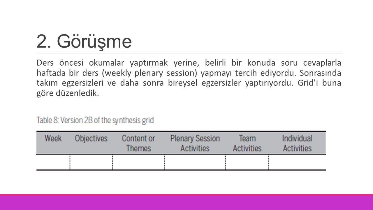 2. Görüşme Ders öncesi okumalar yaptırmak yerine, belirli bir konuda soru cevaplarla haftada bir ders (weekly plenary session) yapmayı tercih ediyordu