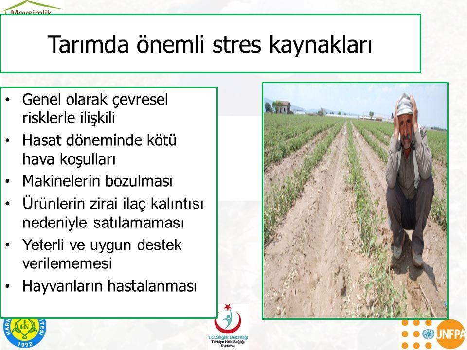 Tarımda önemli stres kaynakları Genel olarak çevresel risklerle ilişkili Hasat döneminde kötü hava koşulları Makinelerin bozulması Ürünlerin zirai ila