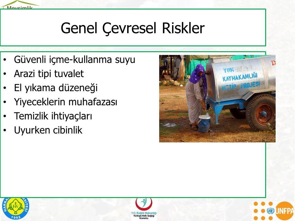 Genel Çevresel Riskler Güvenli içme-kullanma suyu Arazi tipi tuvalet El yıkama düzeneği Yiyeceklerin muhafazası Temizlik ihtiyaçları Uyurken cibinlik