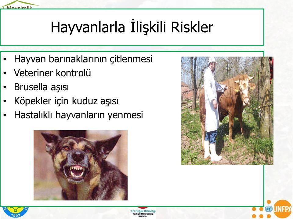 Hayvanlarla İlişkili Riskler Hayvan barınaklarının çitlenmesi Veteriner kontrolü Brusella aşısı Köpekler için kuduz aşısı Hastalıklı hayvanların yenme