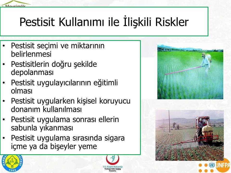 Pestisit Kullanımı ile İlişkili Riskler Pestisit seçimi ve miktarının belirlenmesi Pestisitlerin doğru şekilde depolanması Pestisit uygulayıcılarının