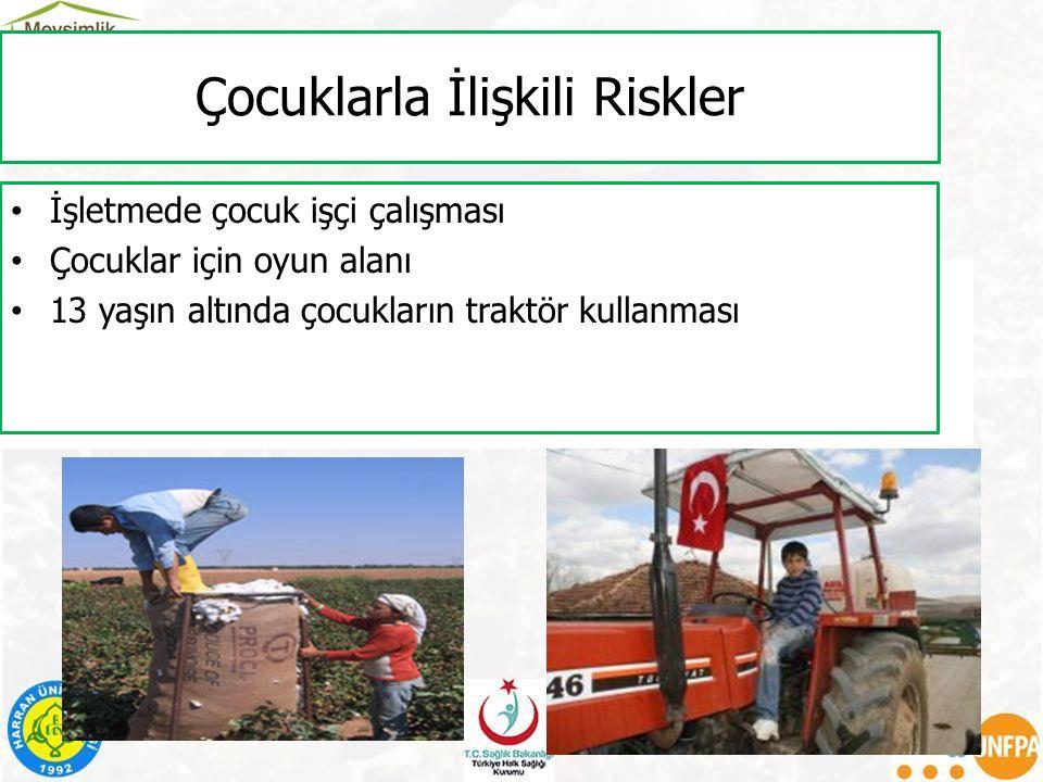 Çocuklarla İlişkili Riskler İşletmede çocuk işçi çalışması Çocuklar için oyun alanı 13 yaşın altında çocukların traktör kullanması