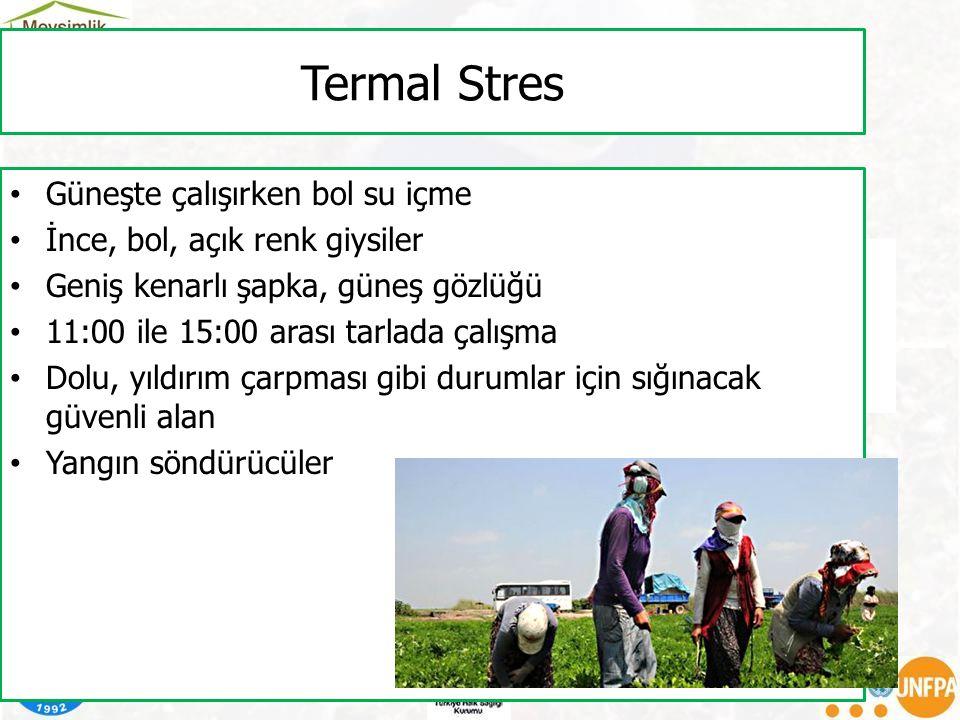Termal Stres Güneşte çalışırken bol su içme İnce, bol, açık renk giysiler Geniş kenarlı şapka, güneş gözlüğü 11:00 ile 15:00 arası tarlada çalışma Dol