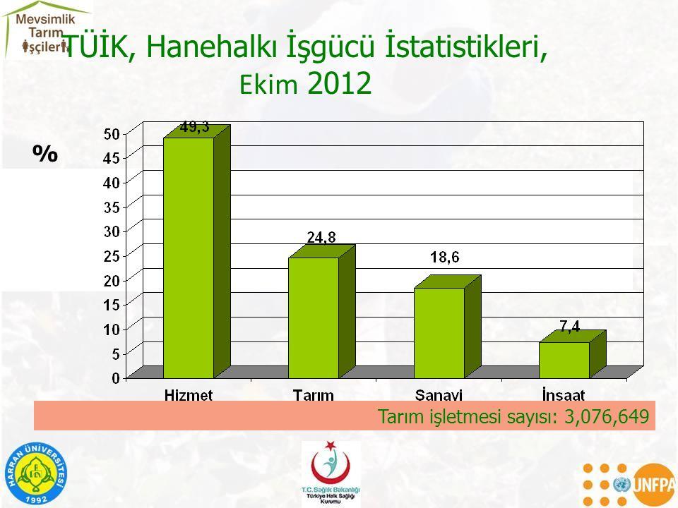 TÜİK, Hanehalkı İşgücü İstatistikleri, Ekim 2012 % Tarım işletmesi sayısı: 3,076,649