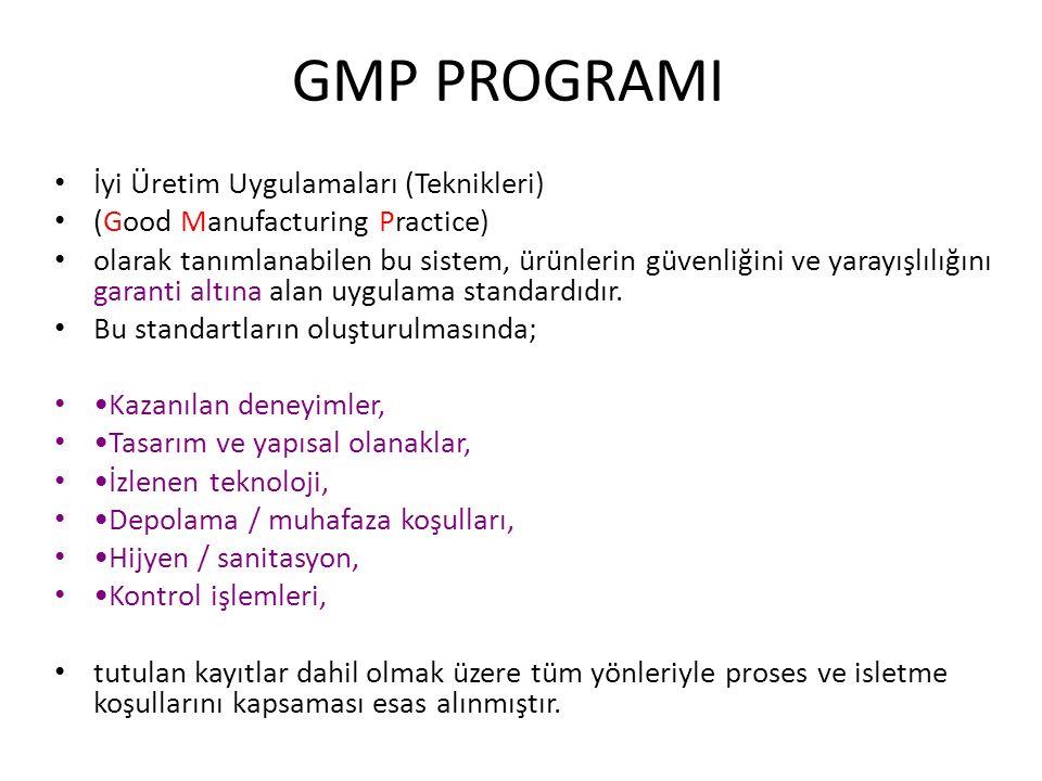 GMP PROGRAMI İyi Üretim Uygulamaları (Teknikleri) (Good Manufacturing Practice) olarak tanımlanabilen bu sistem, ürünlerin güvenliğini ve yarayışlılığ