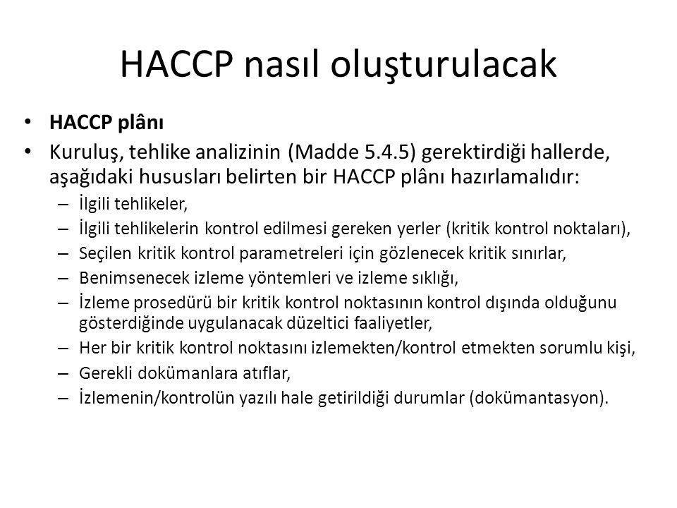 HACCP nasıl oluşturulacak HACCP plânı Kuruluş, tehlike analizinin (Madde 5.4.5) gerektirdiği hallerde, aşağıdaki hususları belirten bir HACCP plânı ha