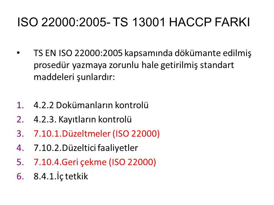 ISO 22000:2005- TS 13001 HACCP FARKI TS EN ISO 22000:2005 kapsamında dökümante edilmiş prosedür yazmaya zorunlu hale getirilmiş standart maddeleri şun