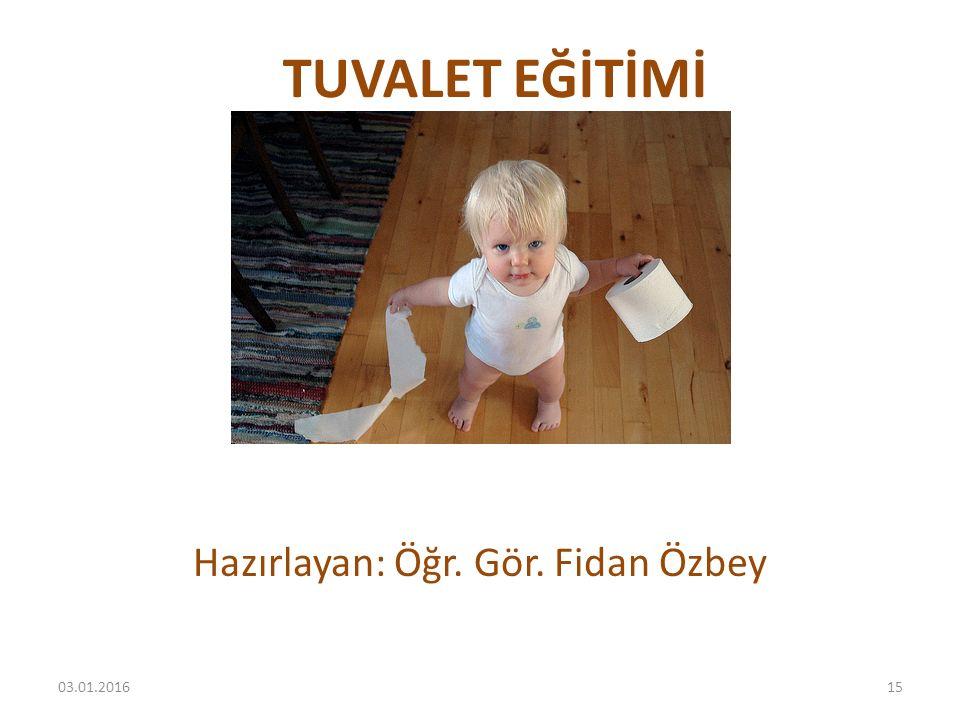 TUVALET EĞİTİMİ Hazırlayan: Öğr. Gör. Fidan Özbey 03.01.201615