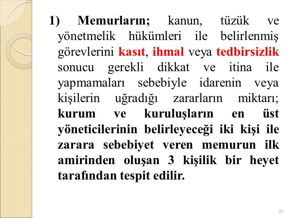 1) Memurların; kanun, tüzük ve yönetmelik hükümleri ile belirlenmiş görevlerini kasıt, ihmal veya tedbirsizlik sonucu gerekli dikkat ve itina ile yapm
