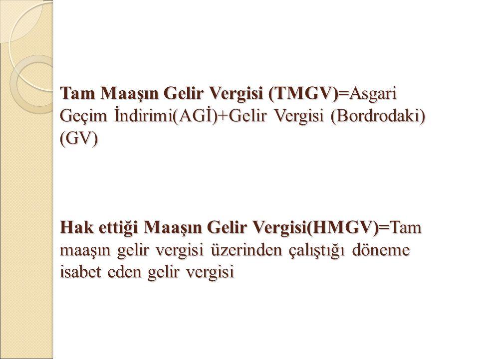 Tam Maaşın Gelir Vergisi (TMGV)=Asgari Geçim İndirimi(AGİ)+Gelir Vergisi (Bordrodaki) (GV) Hak ettiği Maaşın Gelir Vergisi(HMGV)=Tam maaşın gelir vergisi üzerinden çalıştığı döneme isabet eden gelir vergisi