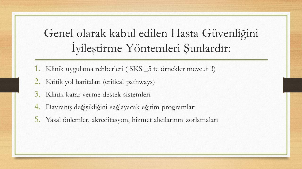 Genel olarak kabul edilen Hasta Güvenliğini İyileştirme Yöntemleri Şunlardır: 1. Klinik uygulama rehberleri ( SKS _5 te örnekler mevcut !!) 2. Kritik