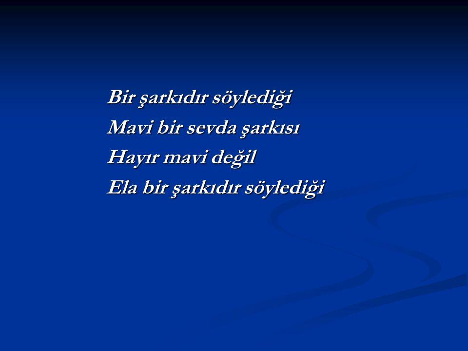 Bir şarkıdır söylediği Bir şarkıdır söylediği Mavi bir sevda şarkısı Mavi bir sevda şarkısı Hayır mavi değil Hayır mavi değil Ela bir şarkıdır söyledi