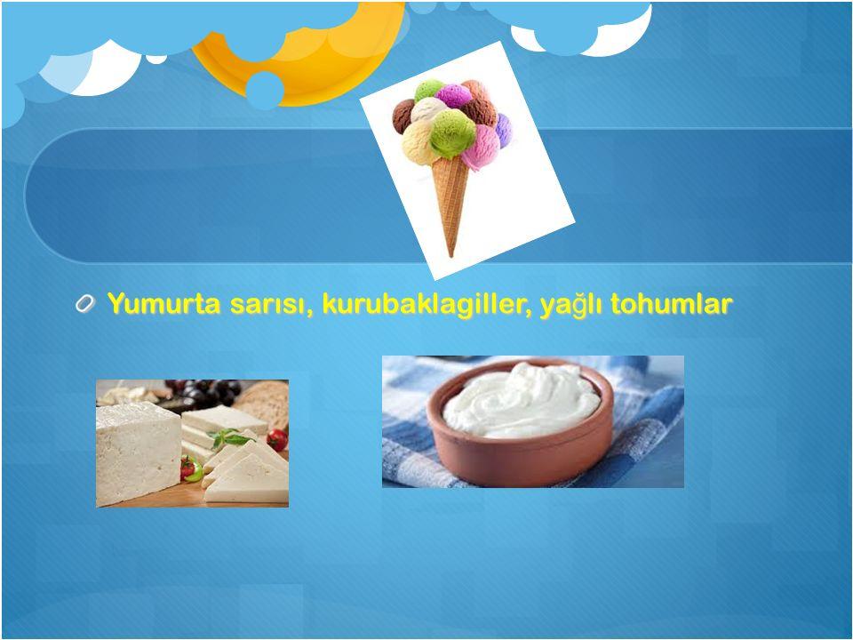 Yumurta sarısı, kurubaklagiller, ya ğ lı tohumlar