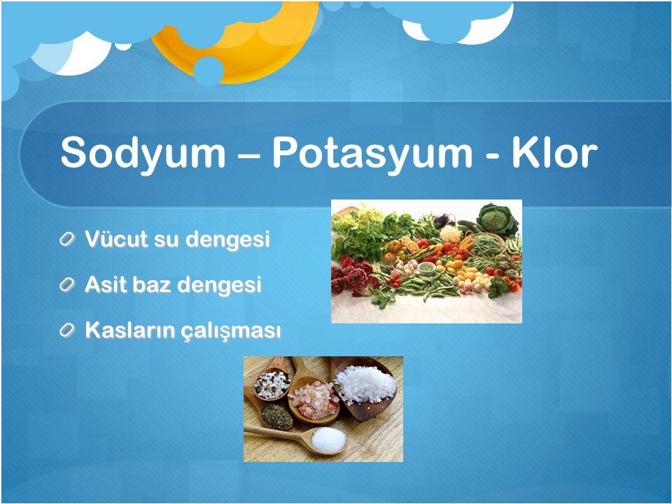 Sodyum – Potasyum - Klor Vücut su dengesi Asit baz dengesi Kasların çalı ş ması