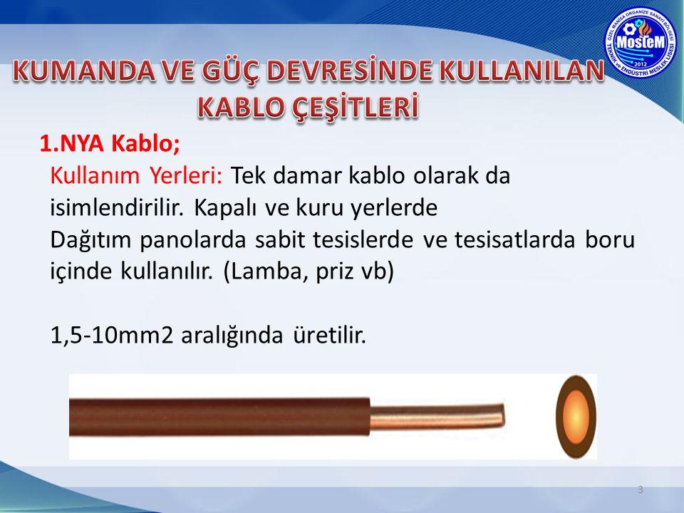4 2.NYAF Kablo(Kumanda kablosu); Kullanım Yerleri: İnce çok telli bakır tellerden ve PVC izoleden meydana gelir.