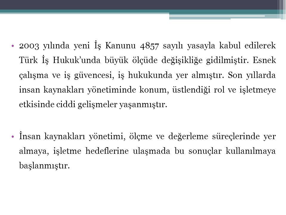 2003 yılında yeni İş Kanunu 4857 sayılı yasayla kabul edilerek Türk İş Hukuk'unda büyük ölçüde değişikliğe gidilmiştir. Esnek çalışma ve iş güvencesi,