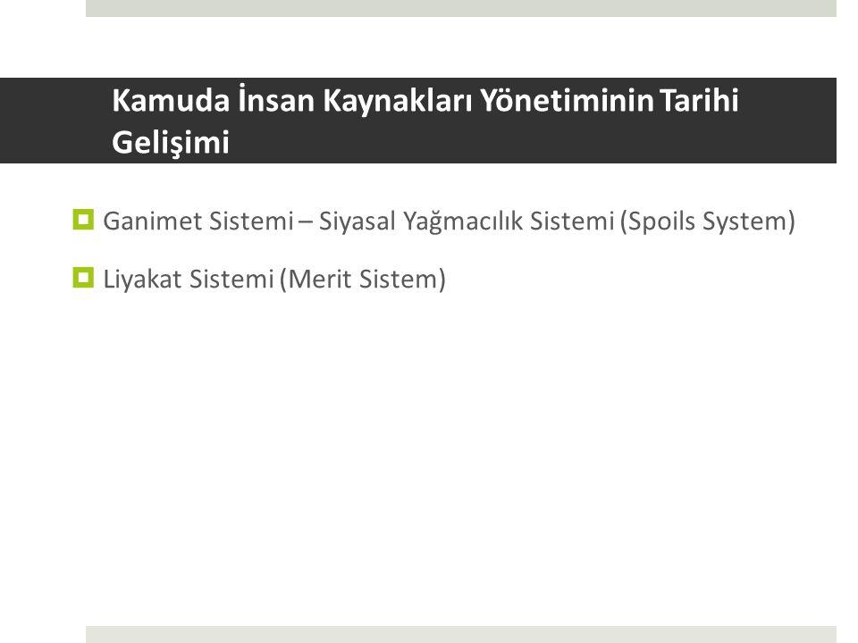 Kamuda İnsan Kaynakları Yönetiminin Tarihi Gelişimi  Ganimet Sistemi – Siyasal Yağmacılık Sistemi (Spoils System)  Liyakat Sistemi (Merit Sistem)