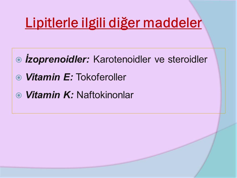 Lipitlerle ilgili diğer maddeler  İzoprenoidler: Karotenoidler ve steroidler  Vitamin E: Tokoferoller  Vitamin K: Naftokinonlar