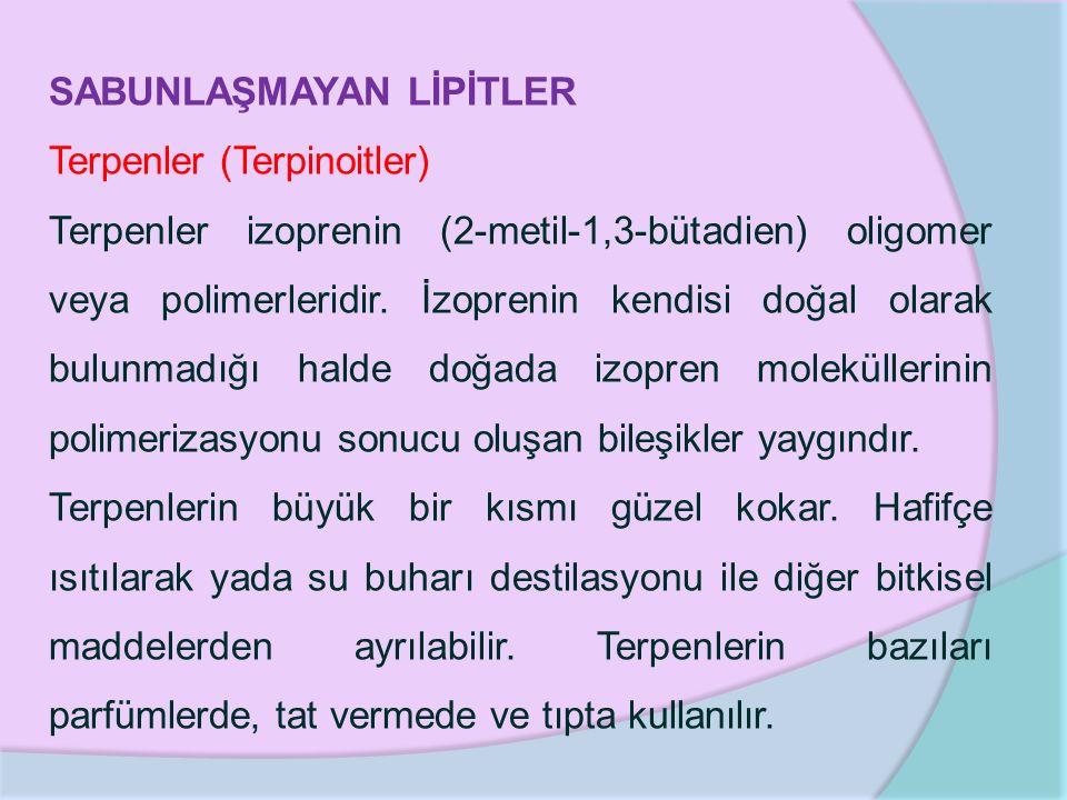 SABUNLAŞMAYAN LİPİTLER Terpenler (Terpinoitler) Terpenler izoprenin (2-metil-1,3-bütadien) oligomer veya polimerleridir. İzoprenin kendisi doğal olara