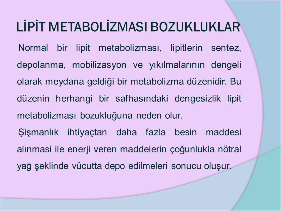 LİPİT METABOLİZMASI BOZUKLUKLAR Normal bir lipit metabolizması, lipitlerin sentez, depolanma, mobilizasyon ve yıkılmalarının dengeli olarak meydana geldiği bir metabolizma düzenidir.