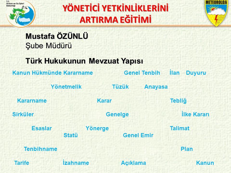 Mustafa ÖZÜNLÜ Şube Müdürü Türk Hukukunun Mevzuat Yapısı YÖNETİCİ YETKİNLİKLERİNİ ARTIRMA EĞİTİMİ Kanun Hükmünde Kararname Genel Tenbih İlan Duyuru Yö