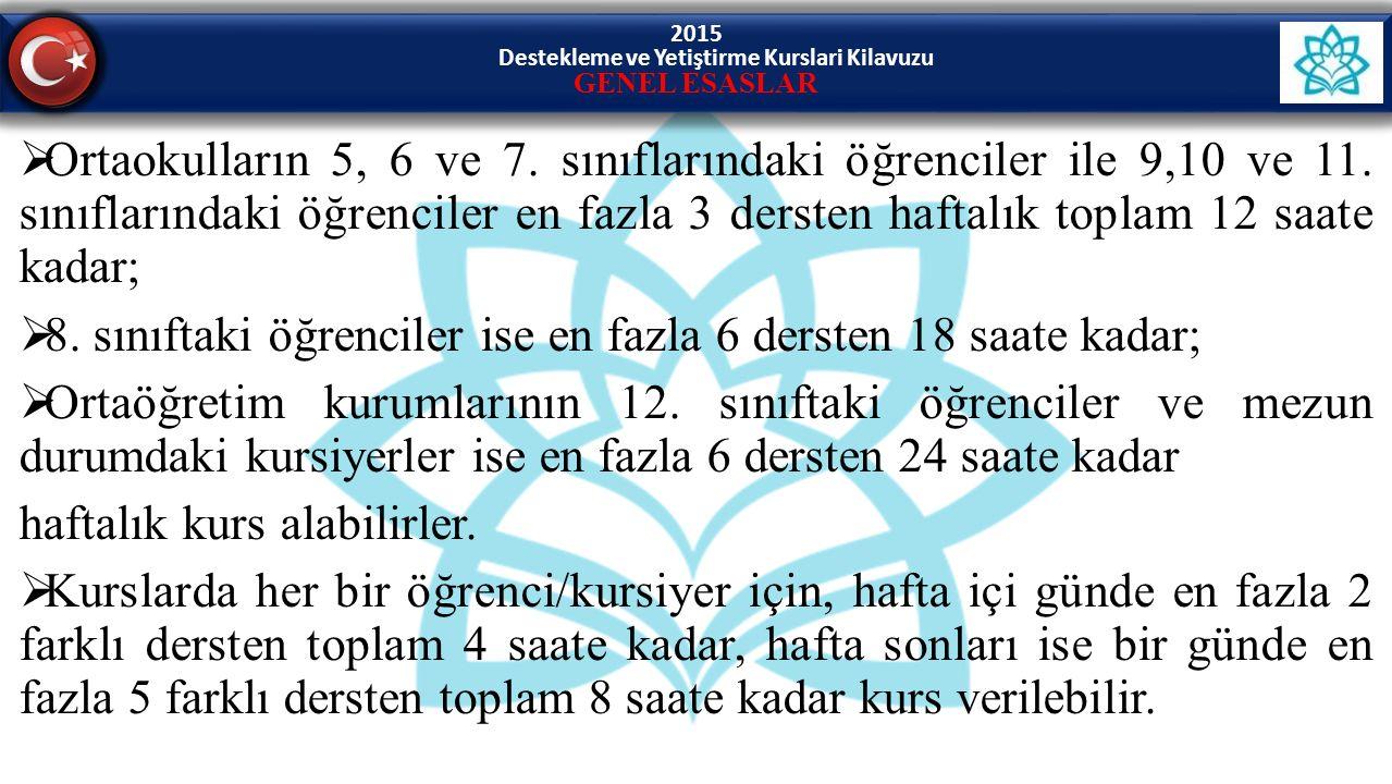 2015 Destekleme ve Yetiştirme Kurslari Kilavuzu GENEL ESASLAR  Ortaokulların 5, 6 ve 7.