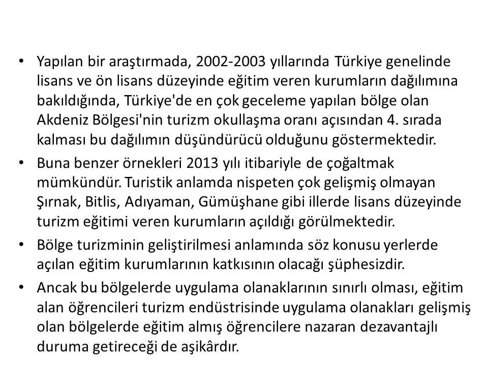 Yapılan bir araştırmada, 2002-2003 yıllarında Türkiye genelinde lisans ve ön lisans düzeyinde eğitim veren kurumların dağılımına bakıldığında, Türkiye