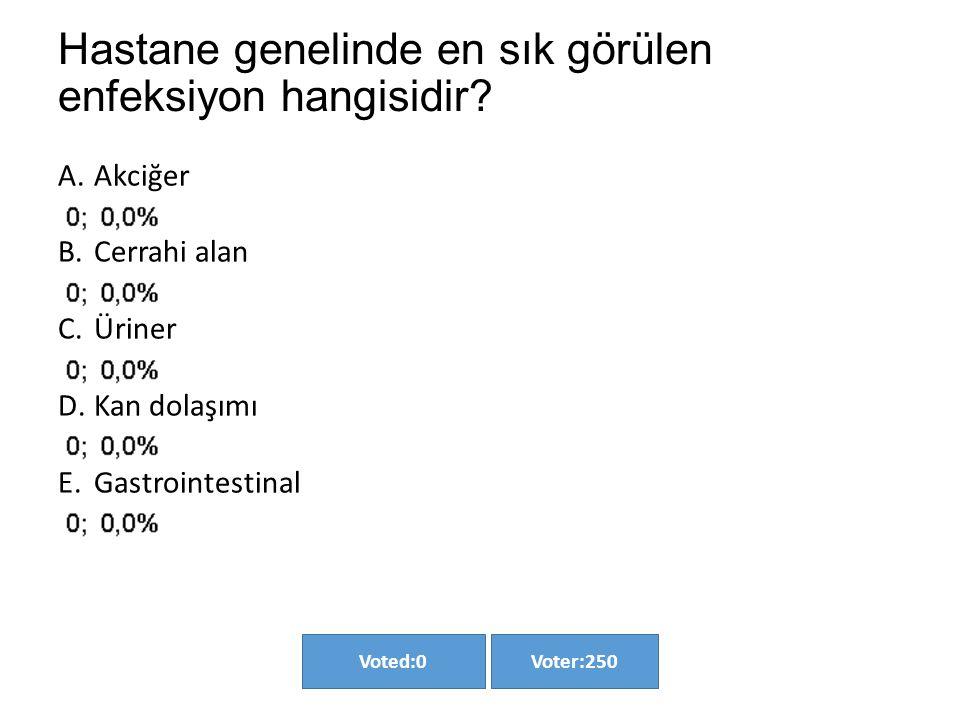 Hastane genelinde en sık görülen enfeksiyon hangisidir? Voter:250Voted:0 A.Akciğer B.Cerrahi alan C.Üriner D.Kan dolaşımı E.Gastrointestinal