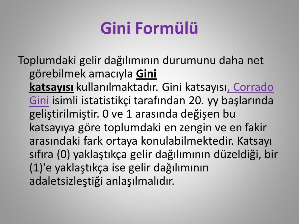 Gini Formülü Toplumdaki gelir dağılımının durumunu daha net görebilmek amacıyla Gini katsayısı kullanılmaktadır. Gini katsayısı, Corrado Gini isimli i