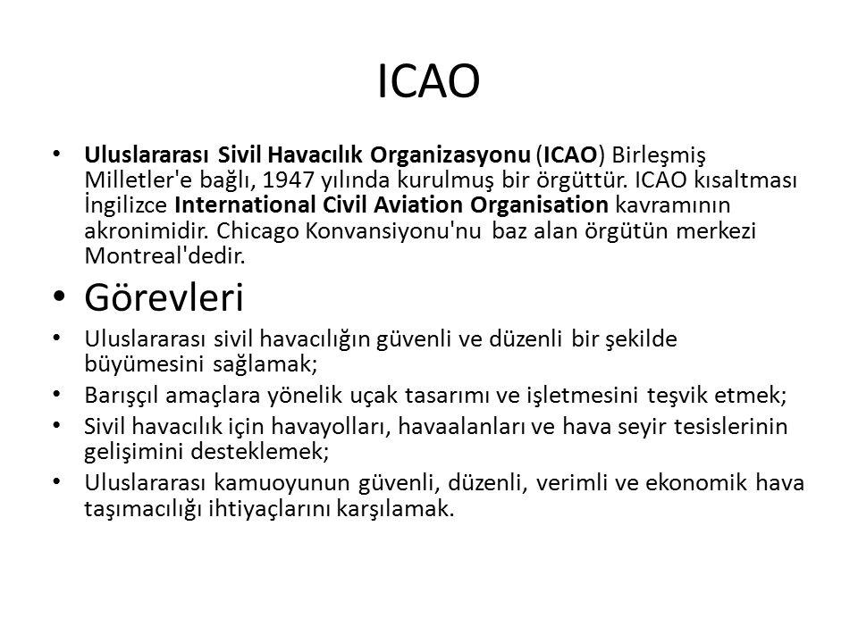 ICAO Uluslararası Sivil Havacılık Organizasyonu (ICAO) Birleşmiş Milletler e bağlı, 1947 yılında kurulmuş bir örgüttür.