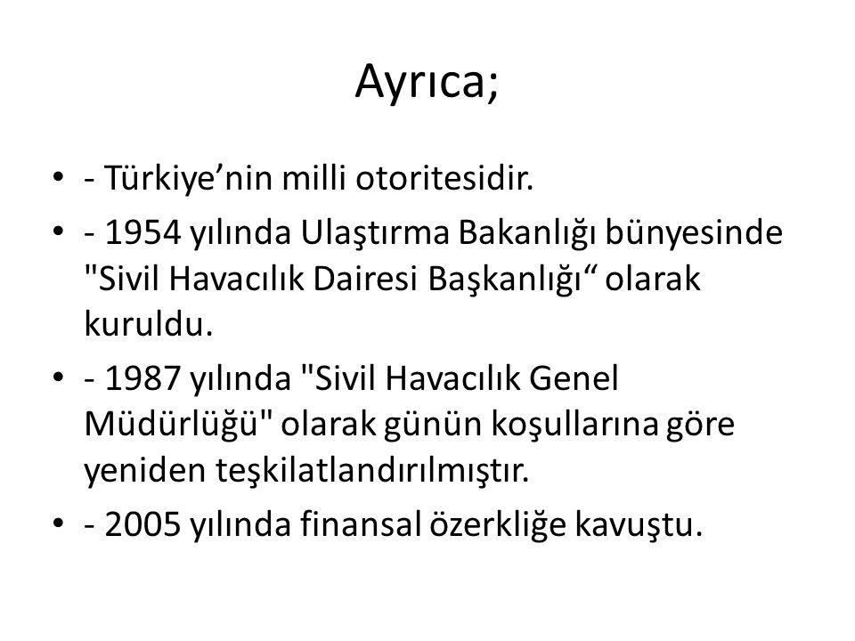 Ayrıca; - Türkiye'nin milli otoritesidir.