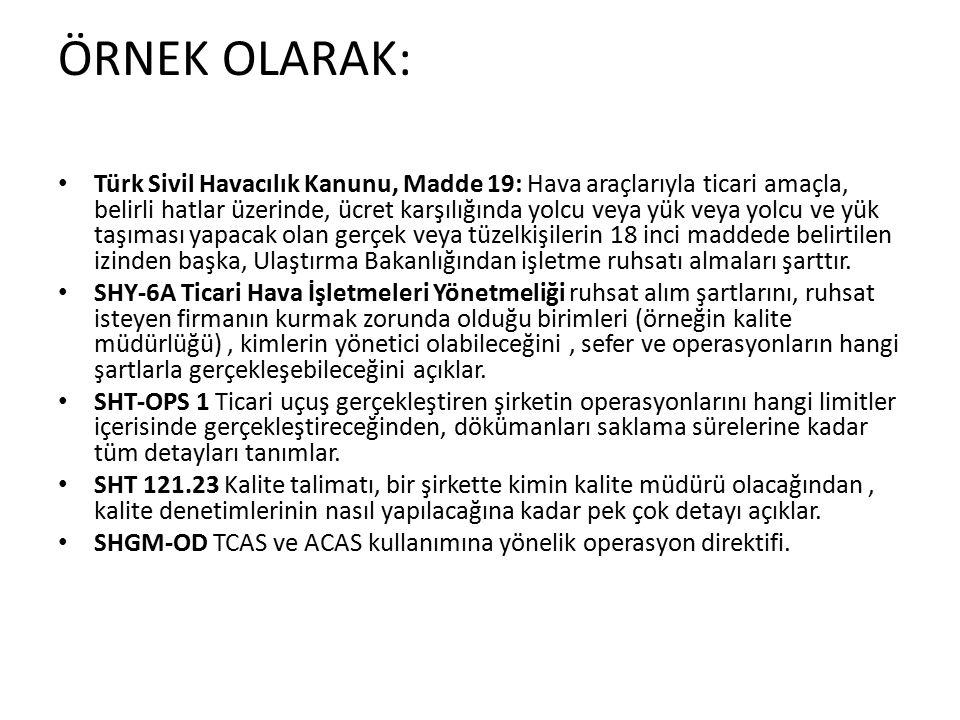 ÖRNEK OLARAK: Türk Sivil Havacılık Kanunu, Madde 19: Hava araçlarıyla ticari amaçla, belirli hatlar üzerinde, ücret karşılığında yolcu veya yük veya yolcu ve yük taşıması yapacak olan gerçek veya tüzelkişilerin 18 inci maddede belirtilen izinden başka, Ulaştırma Bakanlığından işletme ruhsatı almaları şarttır.