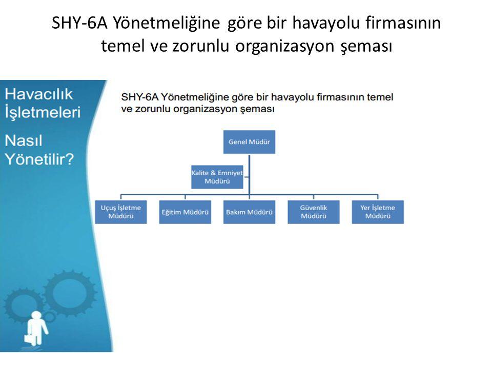 SHY-6A Yönetmeliğine göre bir havayolu firmasının temel ve zorunlu organizasyon şeması
