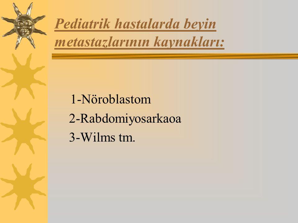 Pediatrik hastalarda beyin metastazlarının kaynakları: 1-Nöroblastom 2-Rabdomiyosarkaoa 3-Wilms tm.
