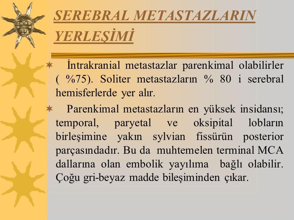 SEREBRAL METASTAZLARIN YERLEŞİMİ  İntrakranial metastazlar parenkimal olabilirler ( %75).