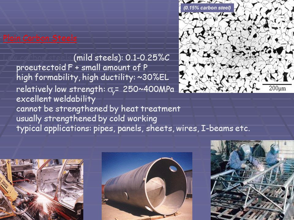 Plain Carbon Steels Low carbon steels (mild steels): 0.1-0.25%C proeutectoid F + small amount of P high formability, high ductility: ~30%EL relatively