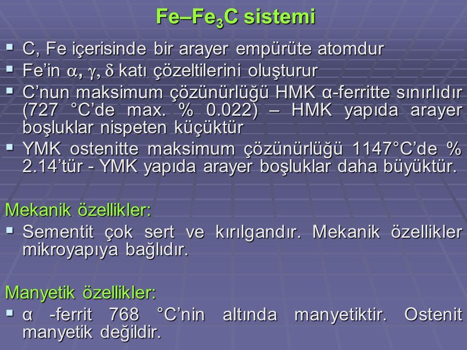 Fe–Fe 3 C sistemi Fe–Fe 3 C sistemi  C, Fe içerisinde bir arayer empürüte atomdur  Fe'in ,  katı çözeltilerini oluşturur  C'nun maksimum çözün