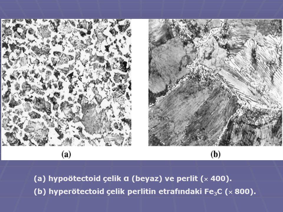 (a) hypoötectoid çelik α (beyaz) ve perlit ( 400). (b) hyperötectoid çelik perlitin etrafındaki Fe 3 C ( 800).