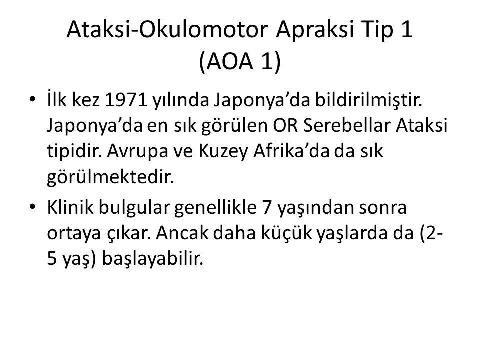 Ataksi-Okulomotor Apraksi Tip 1 (AOA 1) İlk kez 1971 yılında Japonya'da bildirilmiştir.