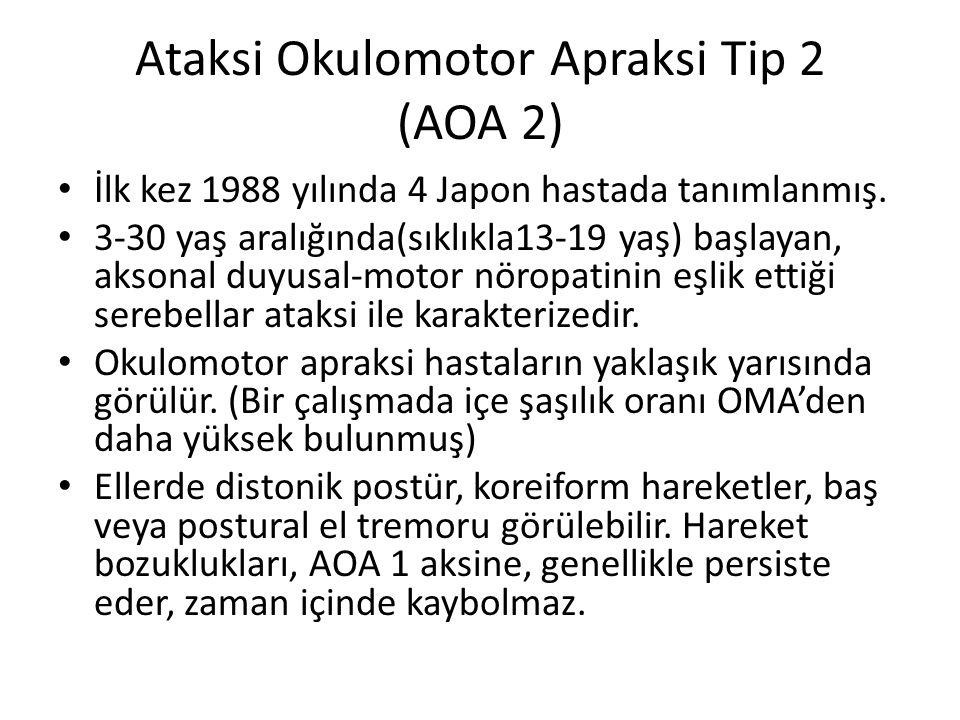 Ataksi Okulomotor Apraksi Tip 2 (AOA 2) İlk kez 1988 yılında 4 Japon hastada tanımlanmış. 3-30 yaş aralığında(sıklıkla13-19 yaş) başlayan, aksonal duy