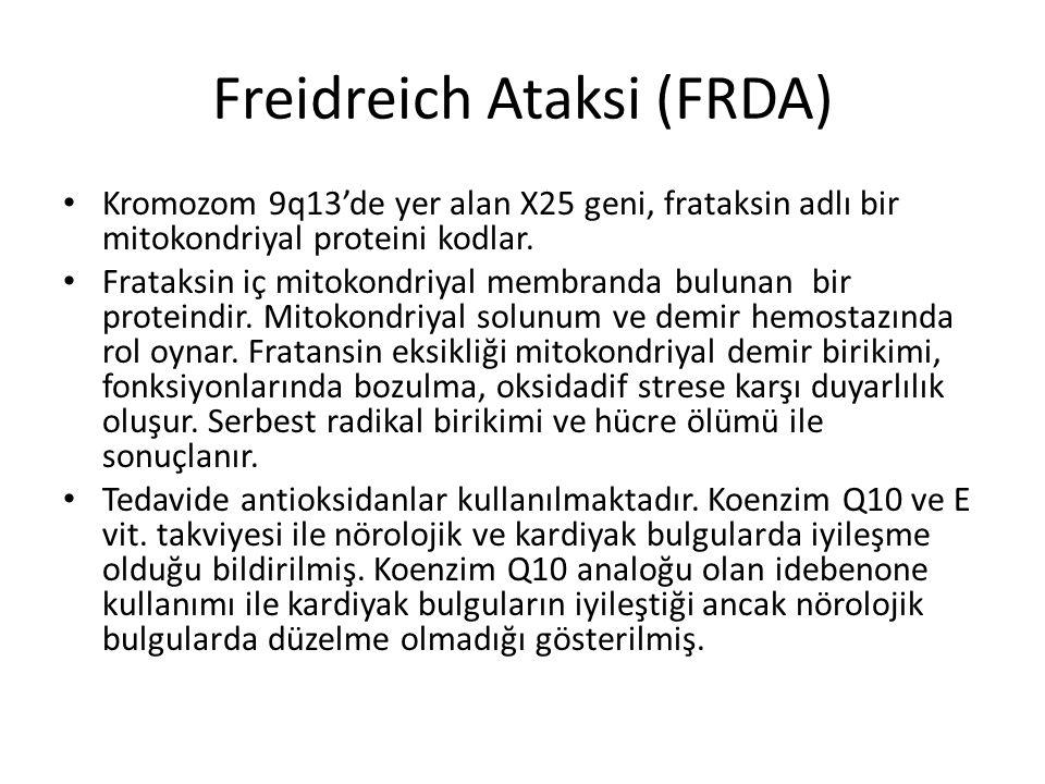 Freidreich Ataksi (FRDA) Kromozom 9q13'de yer alan X25 geni, frataksin adlı bir mitokondriyal proteini kodlar. Frataksin iç mitokondriyal membranda bu