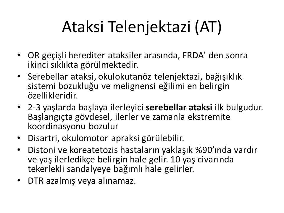 Ataksi Telenjektazi (AT) OR geçişli herediter ataksiler arasında, FRDA' den sonra ikinci sıklıkta görülmektedir. Serebellar ataksi, okulokutanöz telen