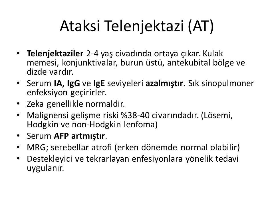 Ataksi Telenjektazi (AT) Telenjektaziler 2-4 yaş civadında ortaya çıkar. Kulak memesi, konjunktivalar, burun üstü, antekubital bölge ve dizde vardır.