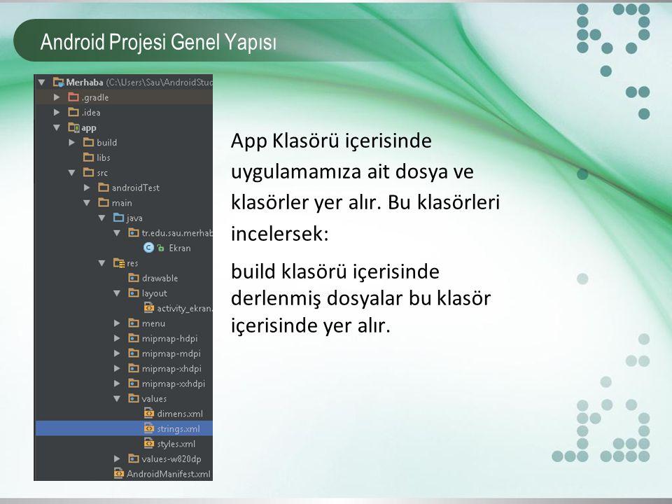 Android Projesi Genel Yapısı App Klasörü içerisinde uygulamamıza ait dosya ve klasörler yer alır. Bu klasörleri incelersek: build klasörü içerisinde d