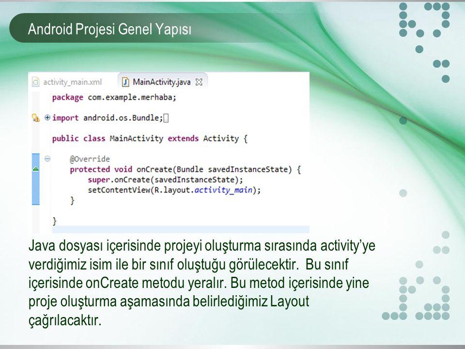 Android Projesi Genel Yapısı Java dosyası içerisinde projeyi oluşturma sırasında activity'ye verdiğimiz isim ile bir sınıf oluştuğu görülecektir. Bu s