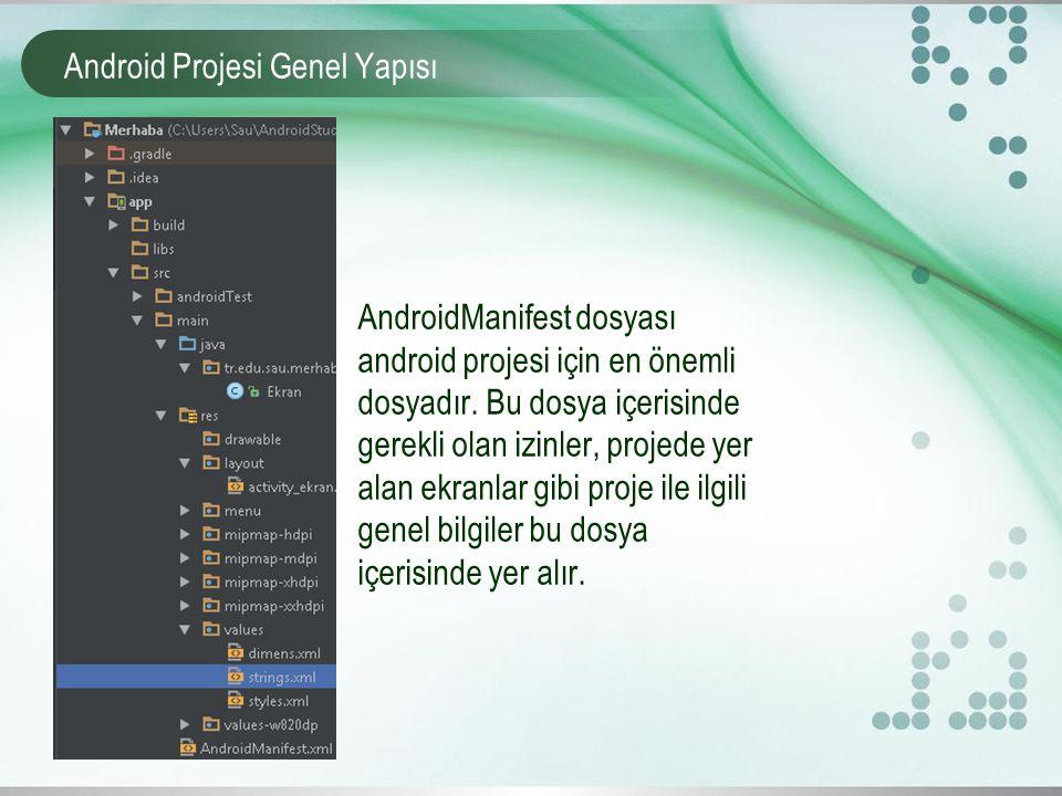 Android Projesi Genel Yapısı AndroidManifest dosyası android projesi için en önemli dosyadır. Bu dosya içerisinde gerekli olan izinler, projede yer al