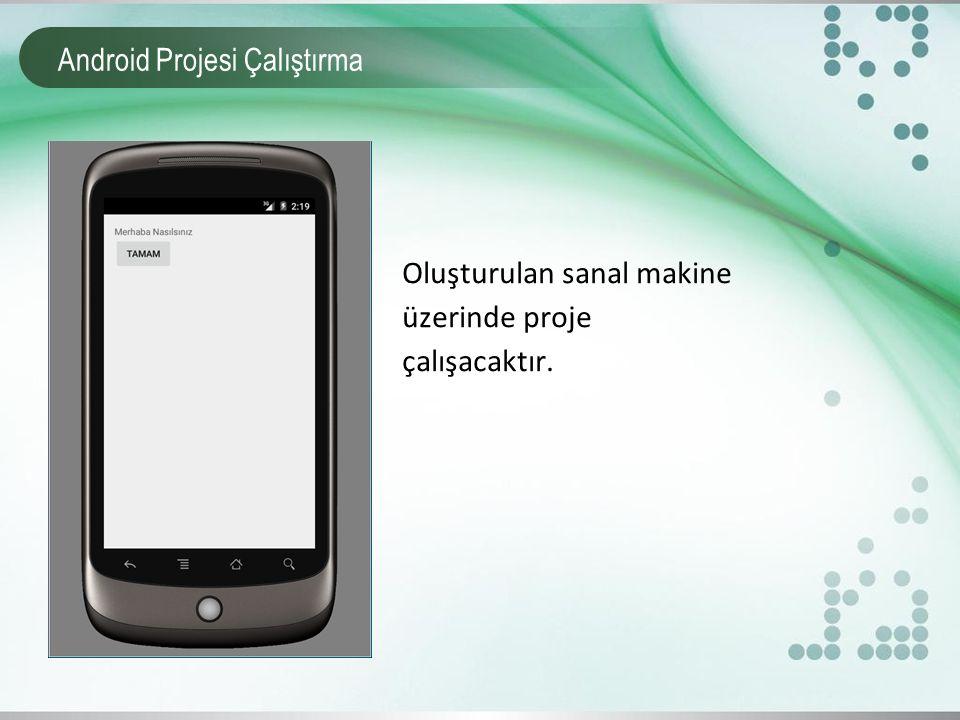 Android Projesi Çalıştırma Oluşturulan sanal makine üzerinde proje çalışacaktır.