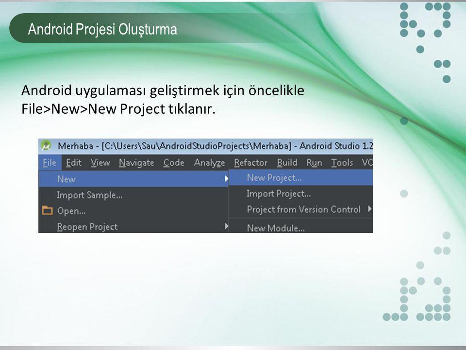 Android Projesi Çalıştırma Projeyi çalıştırmak için Ağaç yapısı üzerinde proje içerisinde bulunan çalıştırılmak istenen activity ismi üzerinde sağ tıklanır.