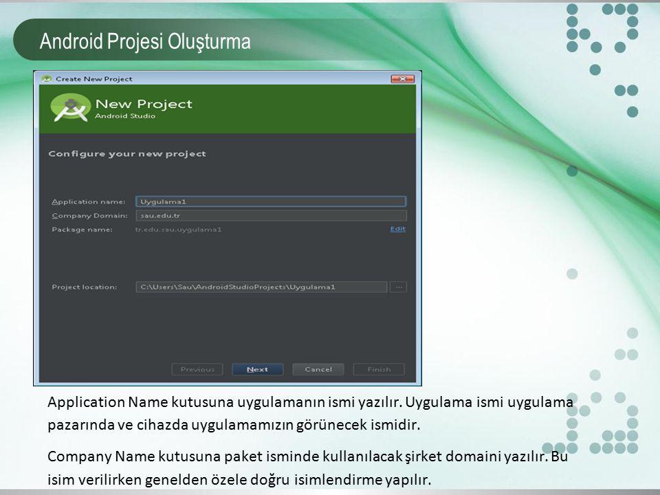 Android Projesi Oluşturma Application Name kutusuna uygulamanın ismi yazılır. Uygulama ismi uygulama pazarında ve cihazda uygulamamızın görünecek ismi